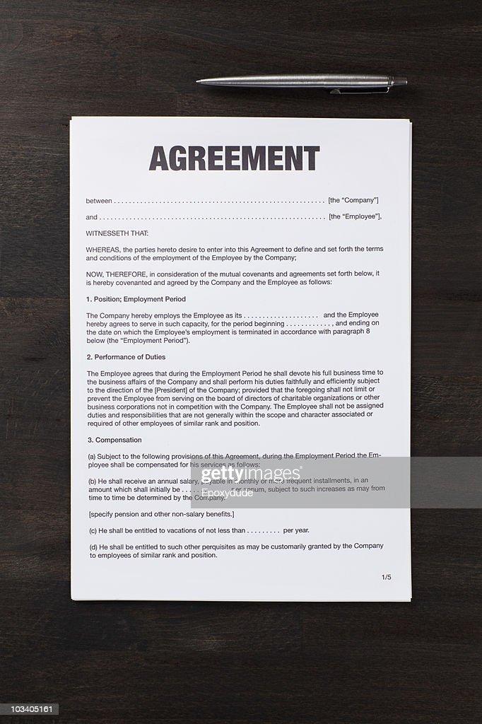 An employment agreement and a pen