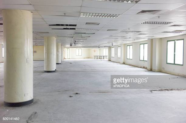 An empty abandoned office building floor