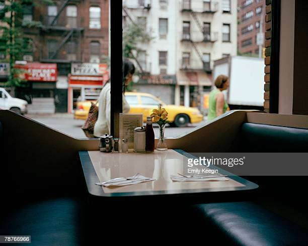 An empty booth in a diner