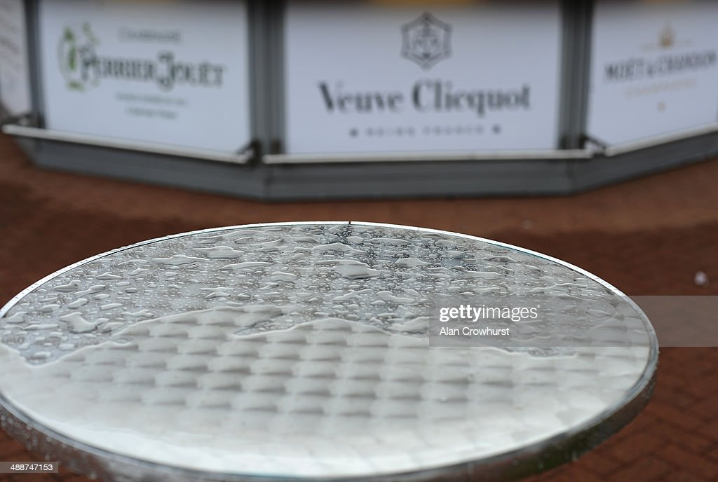 An empty champagne bar after rain falls on Ladies Day at Chester racecourse on May 08, 2014 in Chester, England.