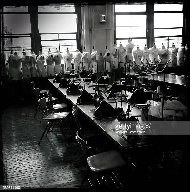 An empty classroom in a public high school designed as a feeder institution for New York City's fashion industry Street scenes of New York City...