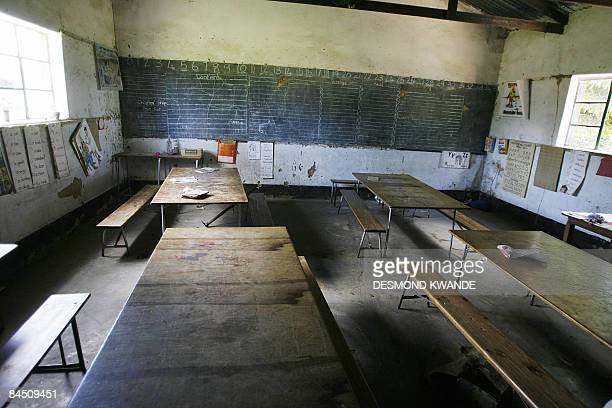 An empty classroom is seen at a school in Norton 55 kms west of Harare on January 28 2009 Schools opened on January 27 with children having no...
