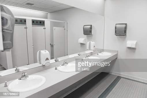 An empty commercial/public restroom