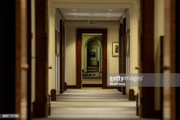 An empty corridor leads through the De Beers SA headquarters on Charterhouse Street in London UK on Wednesday Feb 1 2017 Number 17 Charterhouse...