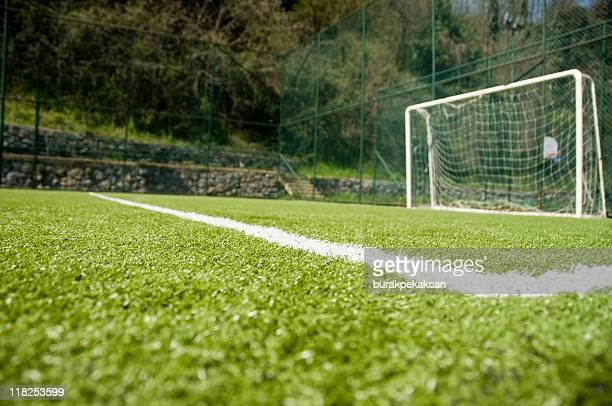 An empty football goal post in Istanbul, Turkey
