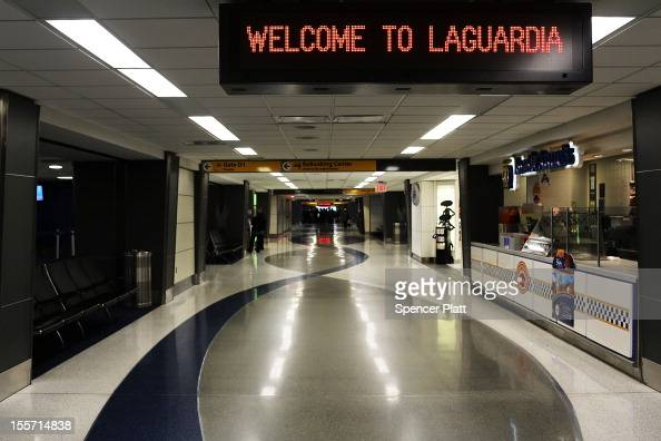 An empty LaGuardia Airport is viewed on November 7 2012 in New York City The Northeast suffered another storm today as a mix of snow rain and high...