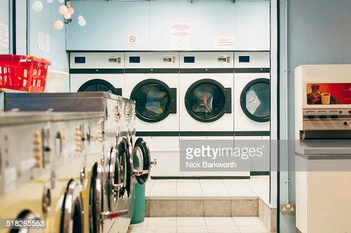 An empty launderette