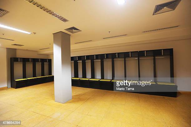 An empty locker room is seen in the Arena de Amazonia June 26 2015 in Manaus Brazil The arena was constructed for $300 million as one of the host...