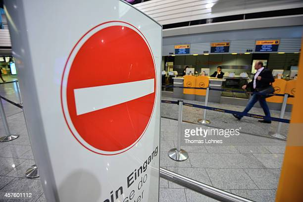 An empty Lufthansa counter pictured at the Frankfurt Airport on October 21 2014 in Frankfurt am Main Germany Vereinigung Cockpit the labor union that...