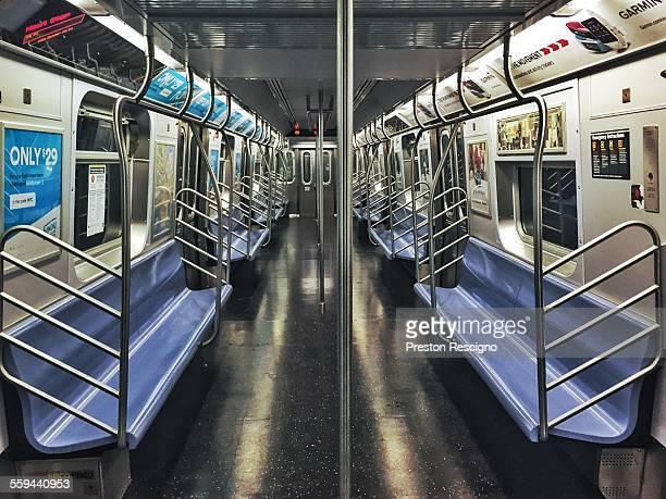 An empty New York City subway R train car is seen May 23 2015 in the Bay Ridge neighborhood of the Brooklyn borough of New York City