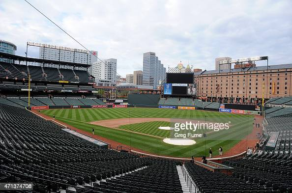 An empty Oriole Park at Camden Yards is shown after the game between the Baltimore Orioles and the Chicago White Sox was postponed on April 27 2015...