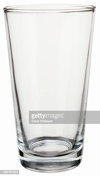 An empty pint drinking glass