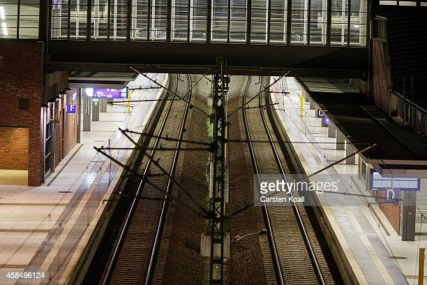 An empty platform is seen during the strike at SBahn station Gesundbrunnen during a fourday strike by the GDL train drivers labor union on November 6...