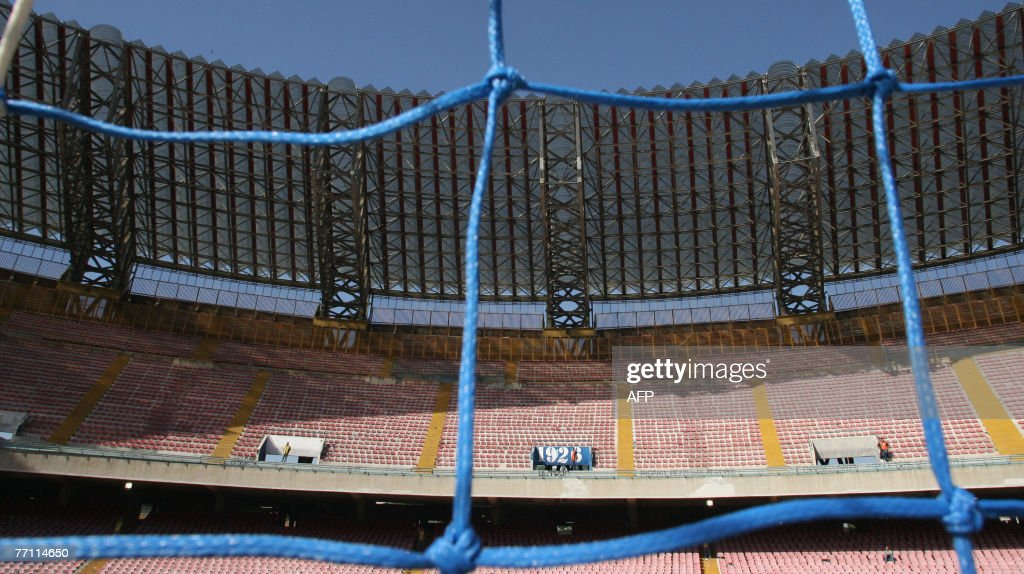 An empty San Paolo stadium is seen before the Italian first league football match between Napoli and Genoa 30 September 2007 The game was played with...