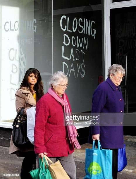 An empty shop in Leeds City Centre today as the latest UK gross domestic product figures published today revealed the economy unexpectedly shrank in...