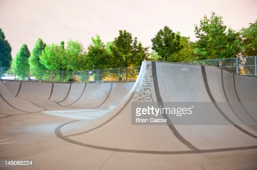 An empty skateboard park