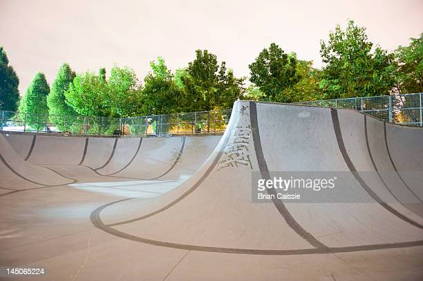 An empty skateboard park