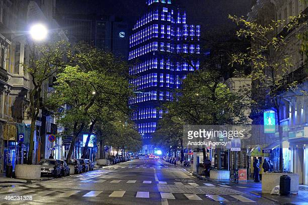An empty street is seen near the Grand Palace Square in Brussels Beigum on November 21 2015 after the level four was set for Brussels based on a...
