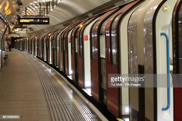 An empty train on the Victoria Line platform at King's Cross station during the London Underground workers strike over planned job cuts and ticket...