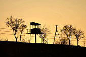 An empty Turkish border post sits by the barbed wire border fence with Syria on January 18 2014 in Reyhanli near the Oncupinar border crossing UN...