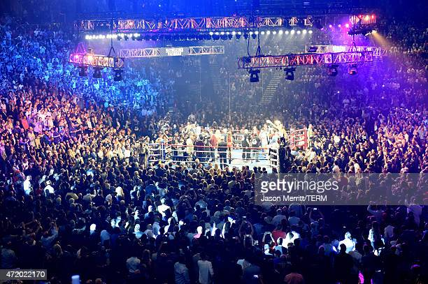 An empty view of the ring at 'Mayweather VS Pacquiao' at MGM Grand Garden Arena on May 2 2015 in Las Vegas Nevada