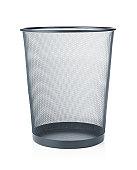 Empty trash, garbage bin isoalted on white background
