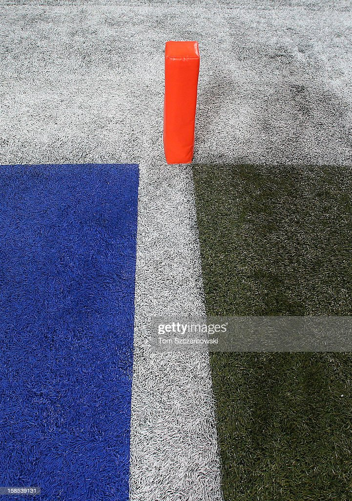 An end zone pylon at the goal line marking the blue end zone before the Buffalo Bills NFL game against the Seattle Seahawks at Rogers Centre on December 16, 2012 in Toronto, Canada.