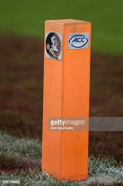 An end zone pylon with the Florida State Seminoles and Atlantic Coast Conference logos during the NCAA football game between the Florida Gators and...
