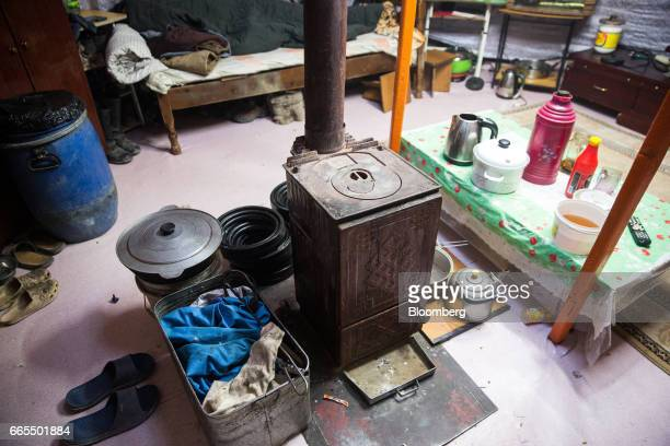 An energy efficient stove is seen inside a traditional ger home in Ulaanbaatar Mongolia on Tuesday March 14 2017 The subzero winters in Ulaanbaatar...