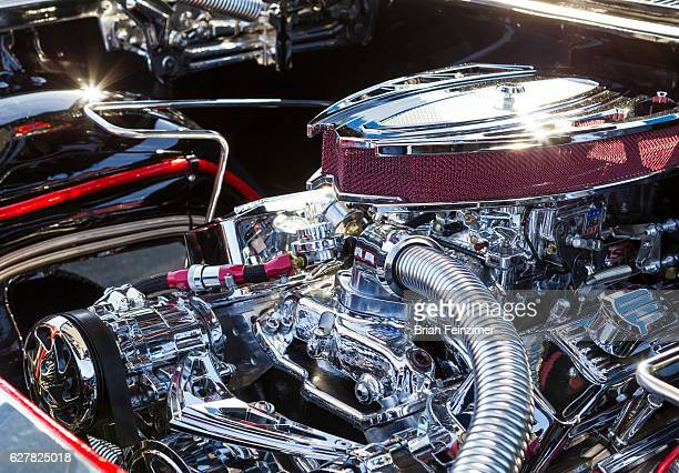 An engine of a lowrider from Eastside Car Club at Randy's Donuts on December 4 2016 in Inglewood California