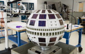 An engineering backup of the Telstar satellite like the one launched July 10 is seen in the Conservation Lab during a behindthescenes media tour...