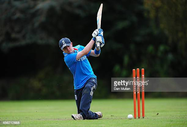 An England batsman in action during the ECB Blind World Cup Squad Training Camp at The Elms School on September 27 2014 in Great Malvern England