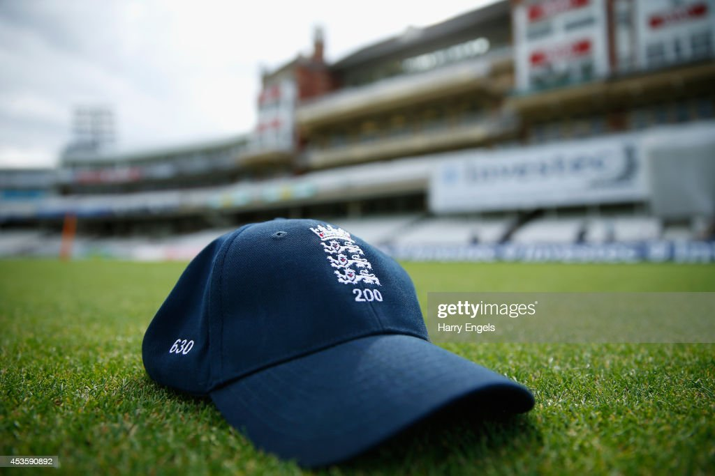An England cap is seen ahead of an England Nets Session at The Kia Oval on August 14, 2014 in London, England. The England cricket team mark Sky's 200th live England Test this week: England v India Fifth Investec Test Match at, Kia Oval, starting Friday 15 August 2014.