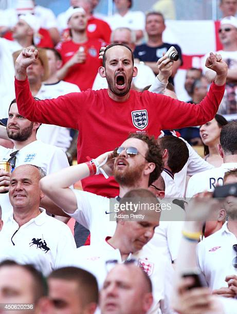 An England fan cheers prior to the 2014 FIFA World Cup Brazil Group D match between England and Italy at Arena Amazonia on June 14 2014 in Manaus...