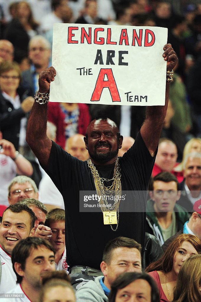 An England fan dressed as Mr T holds up a banner prior to the FIFA 2014 World Cup Group H qualifying match between England and Ukraine at Wembley Stadium on September 11, 2012 in London, England.