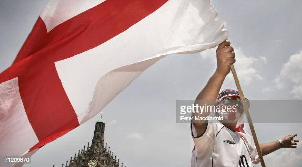 An England fan flies a St George flag on June 15 2006 in Nuremberg Germany England will face Trinidad and Tobago in their second group B match in...