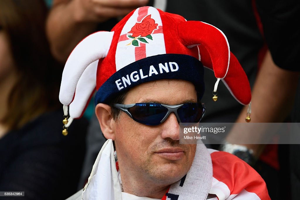 An England fan looks on during the Old Mutual Wealth Cup between England and Wales at Twickenham Stadium on May 29, 2016 in London, England.