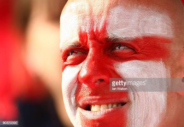 An England fan looks on during the UEFA Women's Euro 2009 QuarterFinal match between Finland and England at the Turkul stadium on September 3 2009 in...