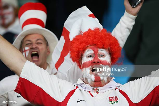 An England fan with a painted face enjoys the pre match atmosphere during the 2015 Rugby World Cup Pool A match between England and Wales at...