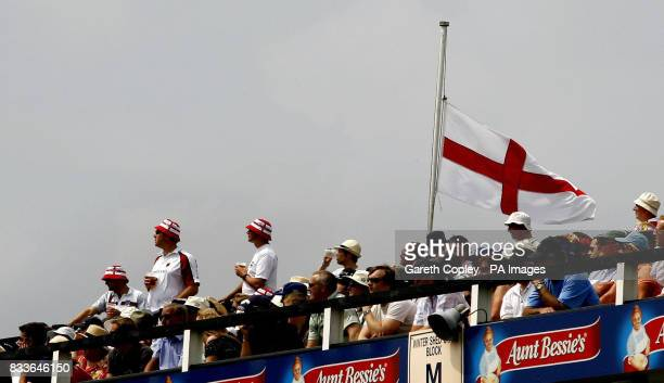 An England flag flys at halfmast in memory of Fred Trueman during the One Day International match between England and Sri Lanka at Headingley Leeds