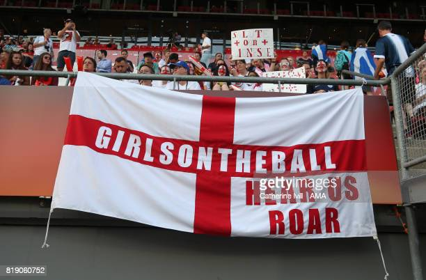 An England flag saying Girls on the ball during the UEFA Women's Euro 2017 match between England and Scotland at Stadion Galgenwaard on July 19 2017...