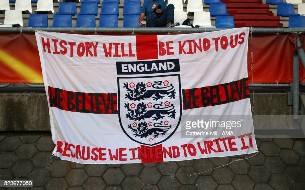 An England flag saying we believe during the UEFA Women's Euro 2017 match between Portugal and England at Koning Willem II Stadium on July 27 2017 in...
