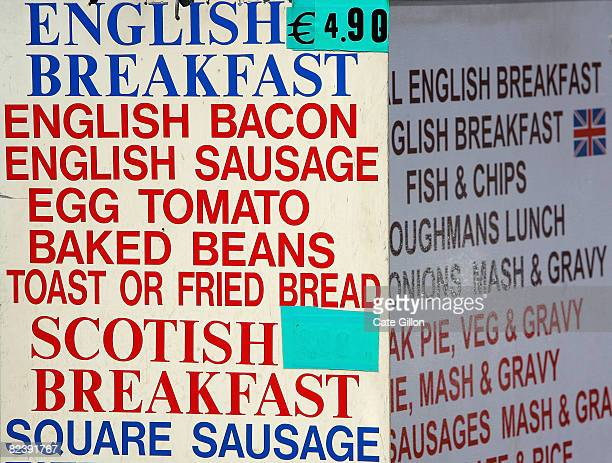 An English breakfast menu outside a cafe catering for British touristst on August 17 2008 in Lloret de Mar Spain Feeling the pinch from the credit...