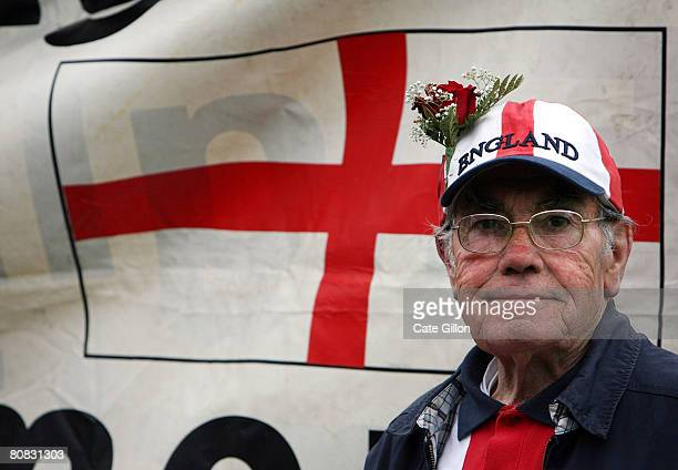 An English Democrat Party supporter stands with a rose in his hat on April 23 2008 in London England The English Democrat Party who are campaigning...