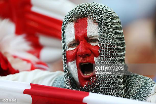 An English fan cheers prior to the opening Group D match of the 2014 World Cup between England and Italy at Arena Amazonia on June 14 2014 in Manaus...