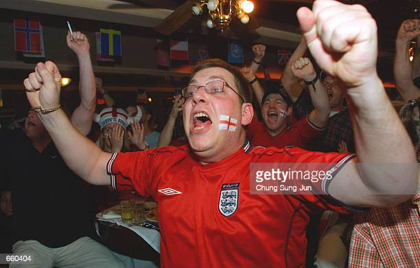 An English soccer fan cheers while watching the end of the England vs Argentina 2002 Federation Internationale de Football Association World Cup...