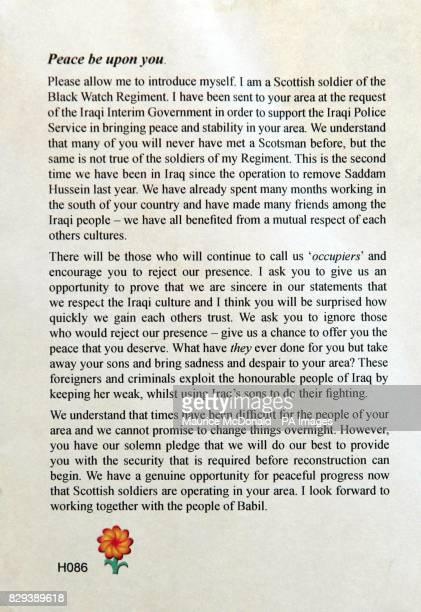 An English translation of the Arabic flyer printed by the army to hand out to the local people as part of their 'hearts and minds' campaign during...