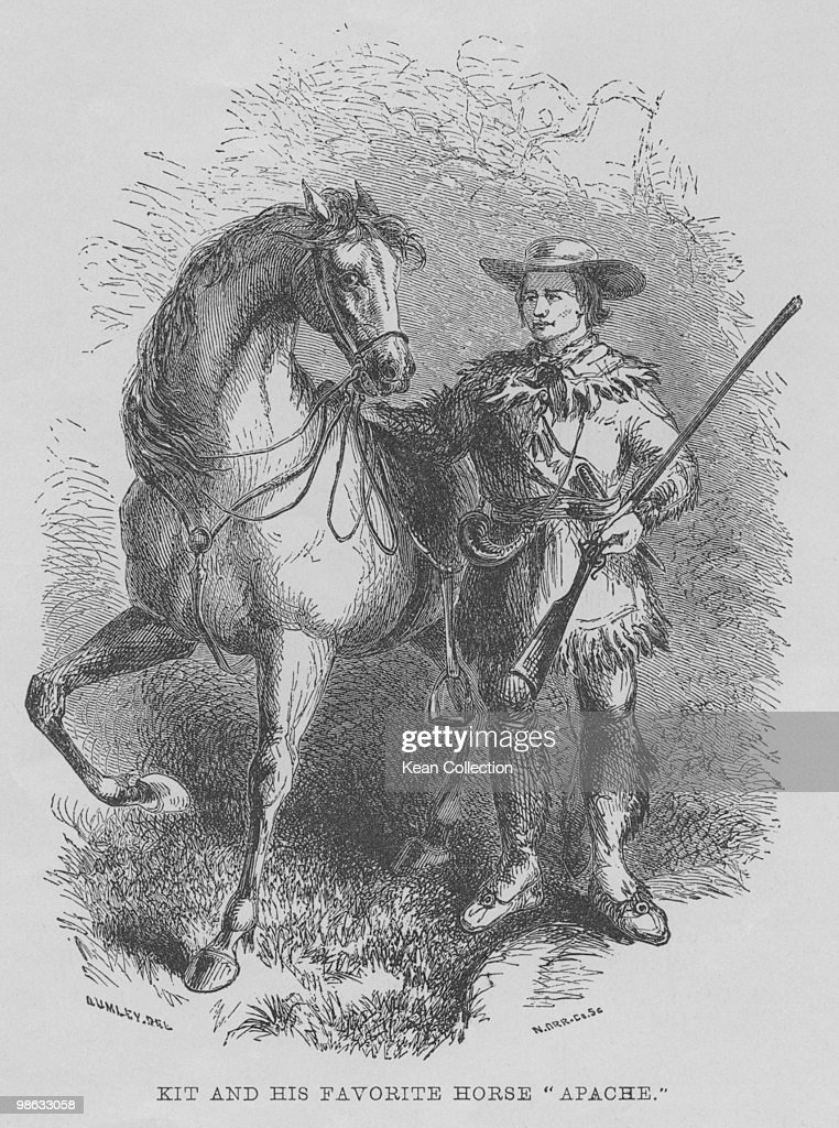 An engraved portrait of American trapper and guide Christopher 'Kit' Carson with his favourite horse Apache