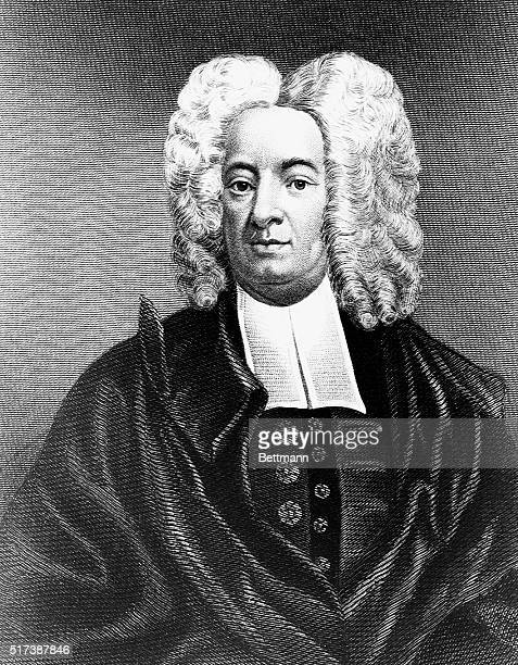 An engraved portrait of Cotton Mather a Boston Congregationalist minister and writer whose writings include a commentary on the witchcraft trials in...
