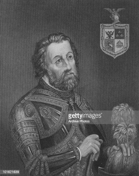 An engraved portrait of Spanish conquistador Hernando Cortez circa 1520s